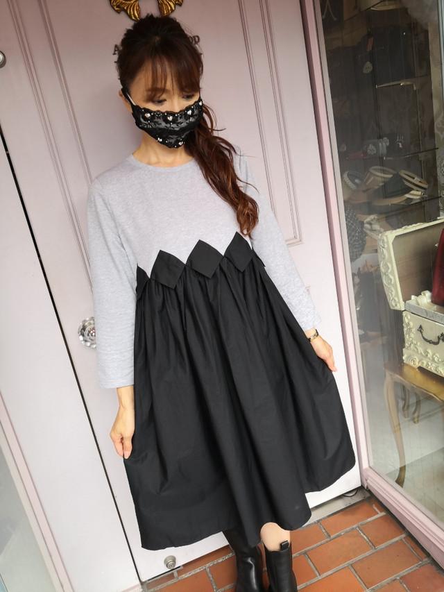 【アパレル・ワンピース】フロント ダイヤモンドカット Tシャツワンピース・グレー×ブラック