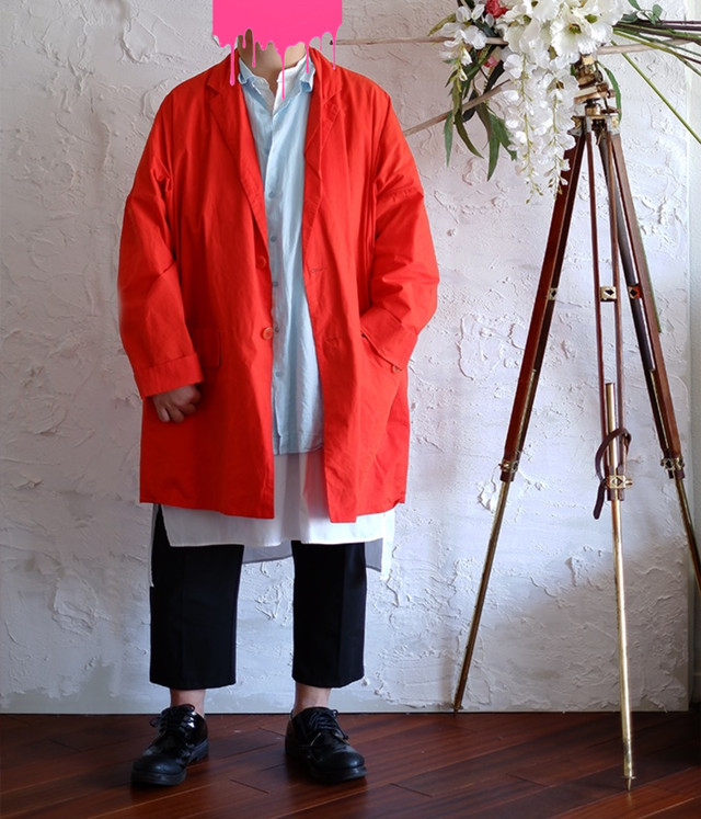 CASEY CASEY - WASABI COAT - 19HM93 - ORANGE SPRING SUMMER OVERSIZED COAT