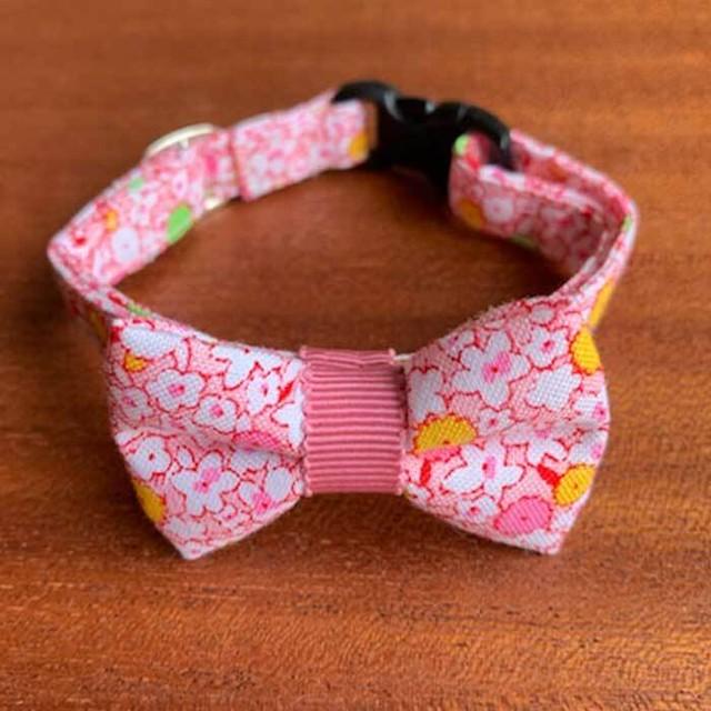 【送料無料】猫の首輪 リボン首輪 グログランリボン 花柄 ライトピンク