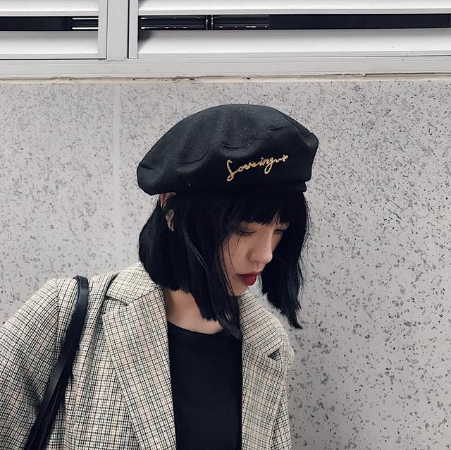 英字刺繍 ベレー帽 レトロ カジュアル【SKOR14464】