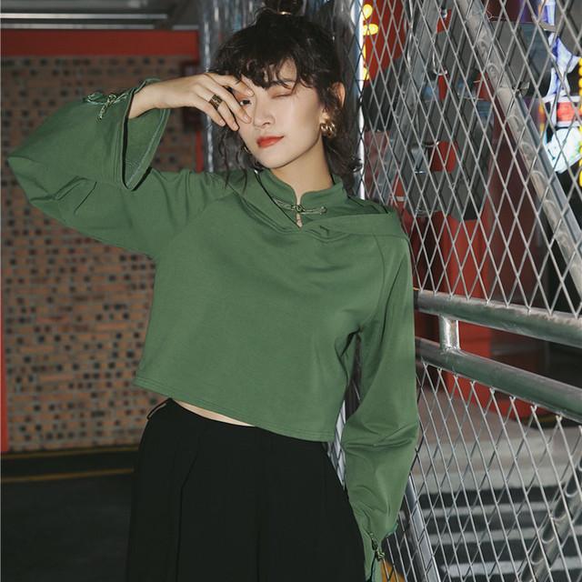 チャイナ風シャツ パーカー 中華服 長袖 フード付き ショート丈 オシャレ ファション グリーン 緑