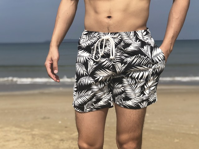 【6/19 21:00販売開始】ThreeArrows Print Board Shorts(black leaf)