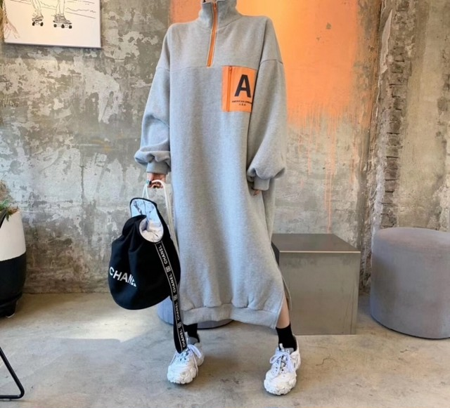Aジップアップフリースロングワンピース ロングワンピース フリース ワンピース 韓国ファッション