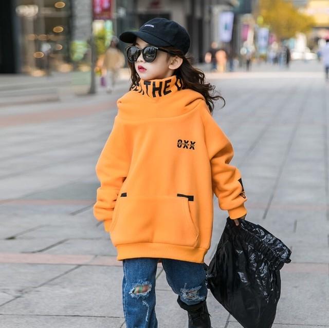 110~160cm ★ ビック シルエットパーカー 防寒 冬 オレンジ カラー