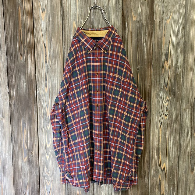 [TOMMY]Bordeaux and dark green check shirt