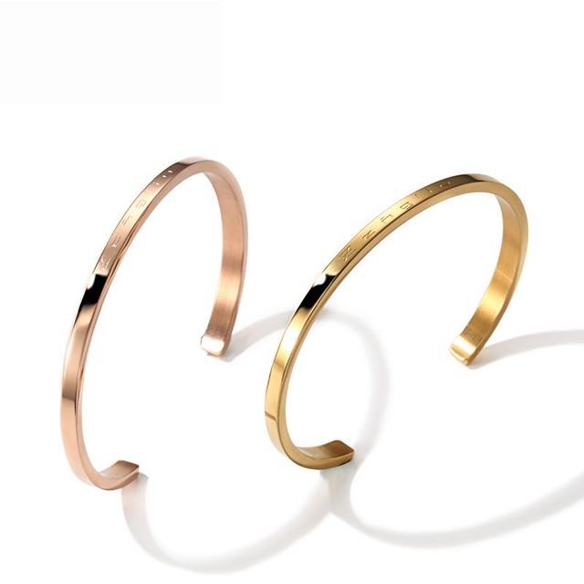 バングル 韓国アクセサリー レディース ブレスレット 金属アレルギー対応 ピンクゴールド イエローゴールド チタン シンプル ジュエリー 敏感肌 / 18K rose gold plated bracelet (DTC-547001955983)
