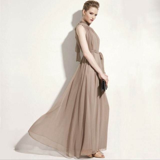 【dress】エレガント上品スタンドネック袖なしマキシデートワンピース