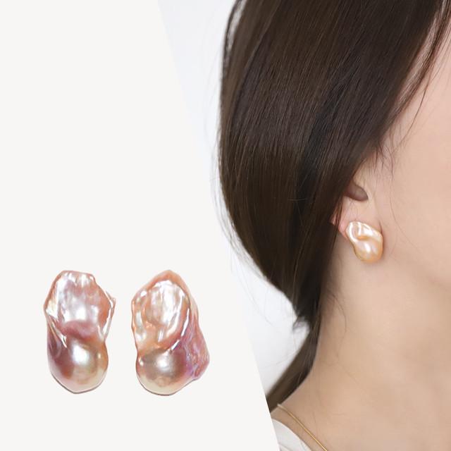 <選べるパール>【Sクラス】baroque pearl stud pierce / earring  -color