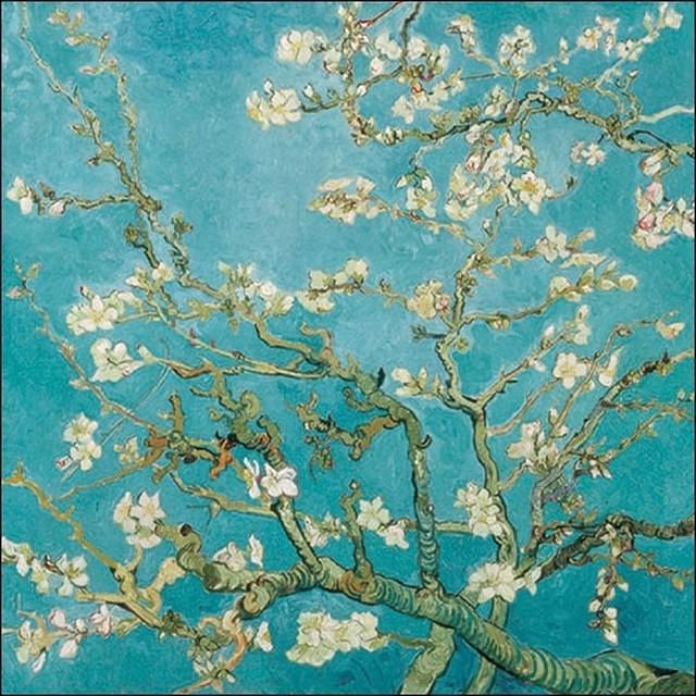 新入荷【Ambiente】バラ売り2枚 ランチサイズ ペーパーナプキン Almond Blossom ブルー