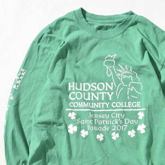 【Lサイズ】Hundson County College ハドソンカウンティカレッジ TEE 半袖Tシャツ GRN グリーン L 400601191012