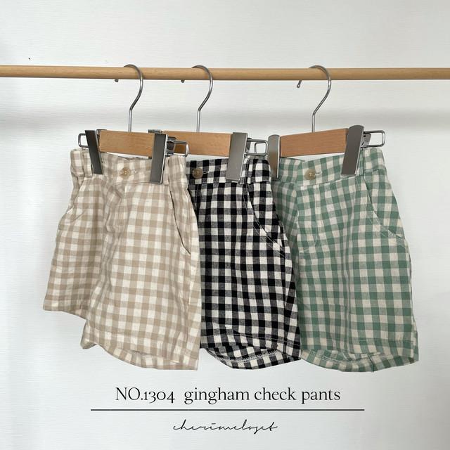 NO.1304  gingham check pants / mamami