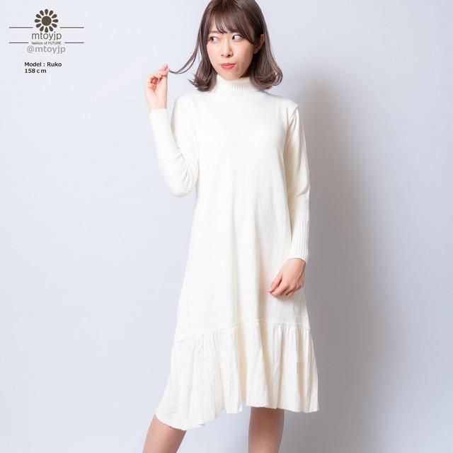 ニットワンピース レディース ハイネック ワンピース 秋冬 裾プリーツ ワンピ タートル 6XINYA-002
