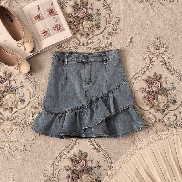 【meltie】girly frill denim skirt