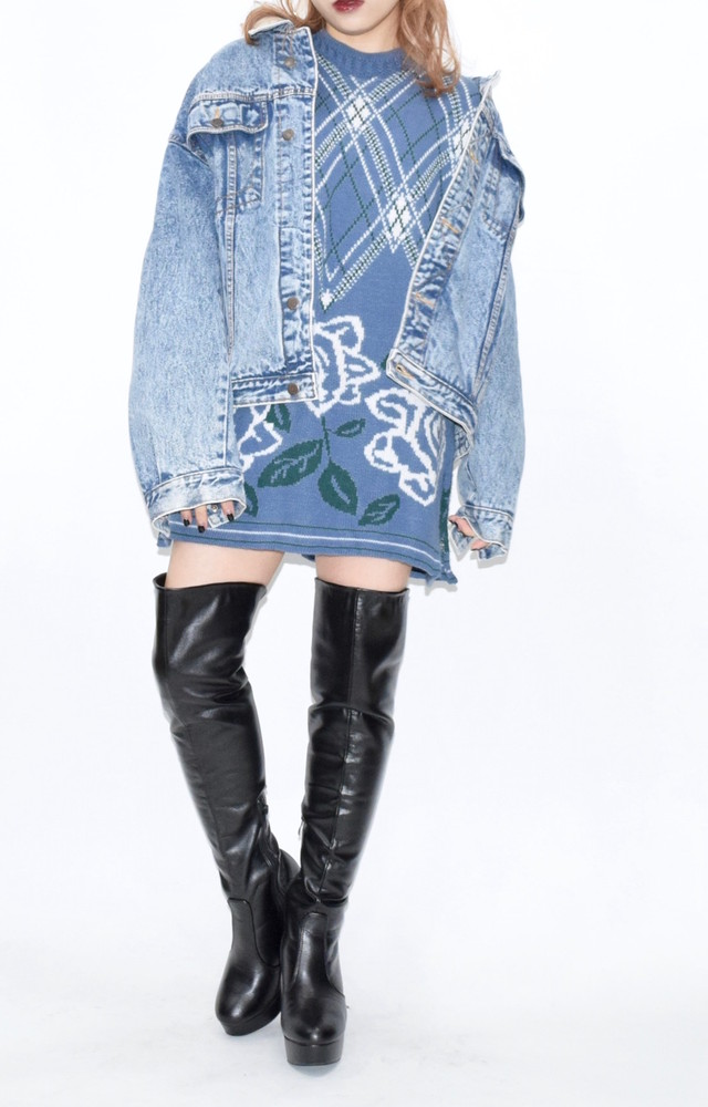 【WEB限定】CHEMICAL WASH BIG DENIM JACKET(BLU)