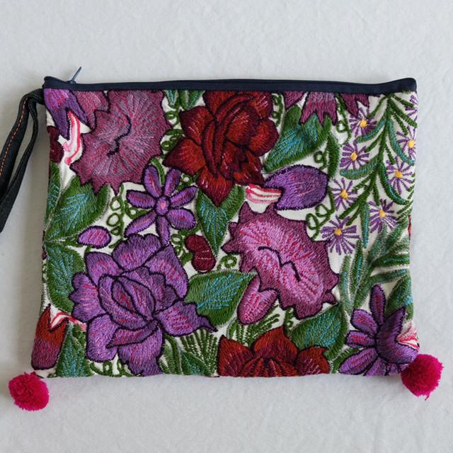 シナカンタンの花刺繍ポーチ /230d/ MEXICO メキシコ