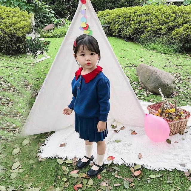 【セットアップ】ファッション折り襟配色ニット生地子供服女の子スカートセット2点セット24835427