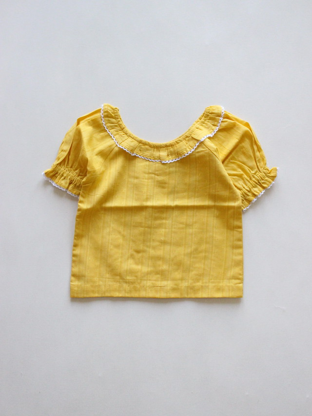 Lali  Sunflower top MUSTARD picoting Swiss dot  Drop1