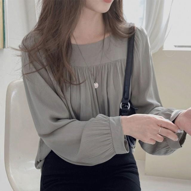 【トップス】無地 プルオーバー パフスリーブ 長袖 高見えデザイン 伸縮性のある ブラウス44553539