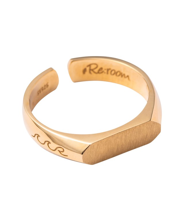 WAVE ICON SIGNET RING-GOLD[REA144]