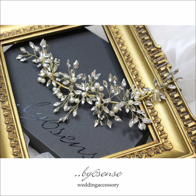 マーキスジルコニア・パールビジュ― ウェディングヘッドドレス gold   (hd0106)