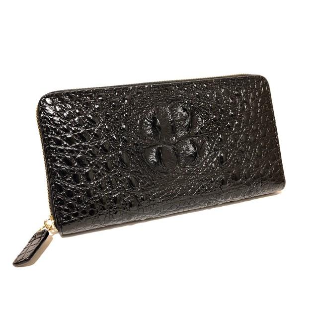 クロコダイル 長財布 ラウンドファスナー コブ付き背中一枚革 BLACK