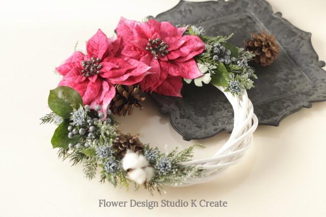 クリスマスに☆ローズピンクのポインセチアのクリスマスリース クリスマスリース ポインセチア 玄関リース リース