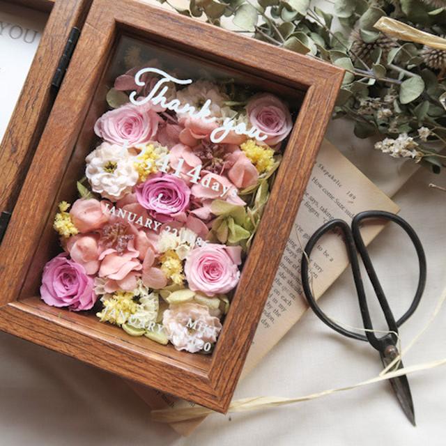 【order】 Thankyou wood glass miniphotoframe 感謝のきもちをこめて プリザーブドフラワー フラワーボックス ご両親贈呈品