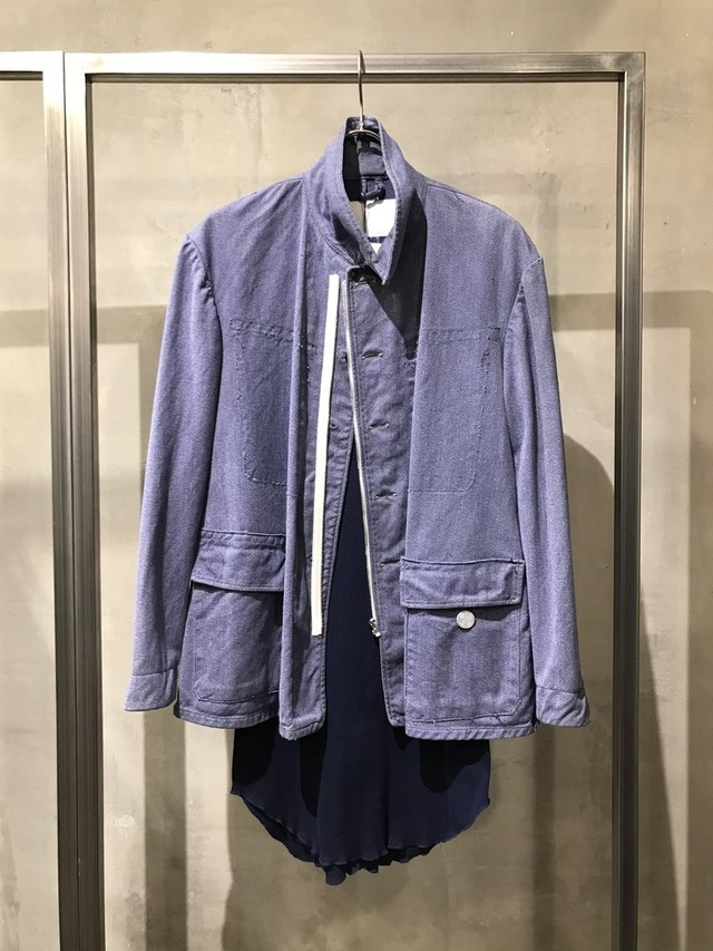 TrAnsference zip replaced Swiss denim blouson - past white effect