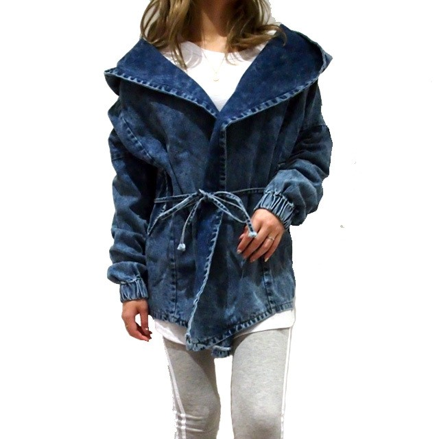 【NEW】OVER SIZE HOODIE ON DENIM CARDIGAN
