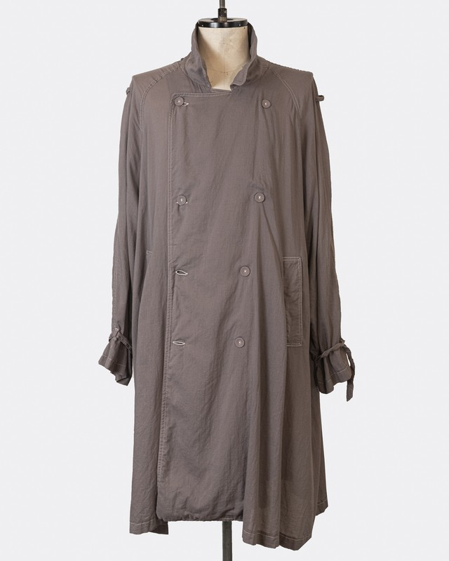 T/f cotton silk loose fit trench coat - matured greige