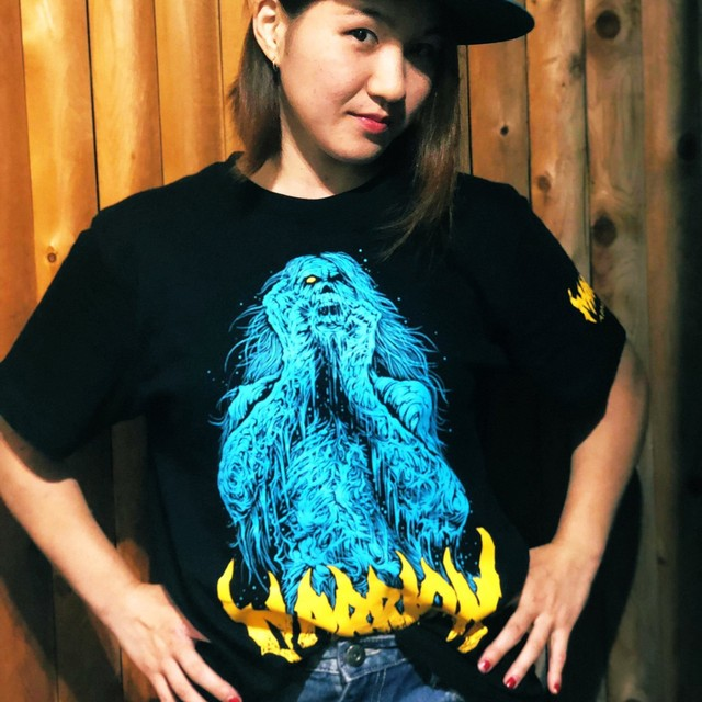 【Cotton100%】Brutal Zombie Marrion  Tee (Blue×Yellow)
