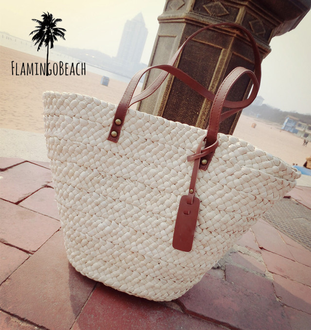 【FlamingoBeach】White summer bag カゴバック