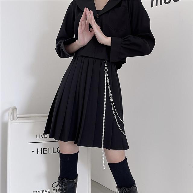 【大魔王シリーズ】★ミニスカート★ ボトムス 2color チェーン付き プリーツスカート 黒 グレー S M L XL