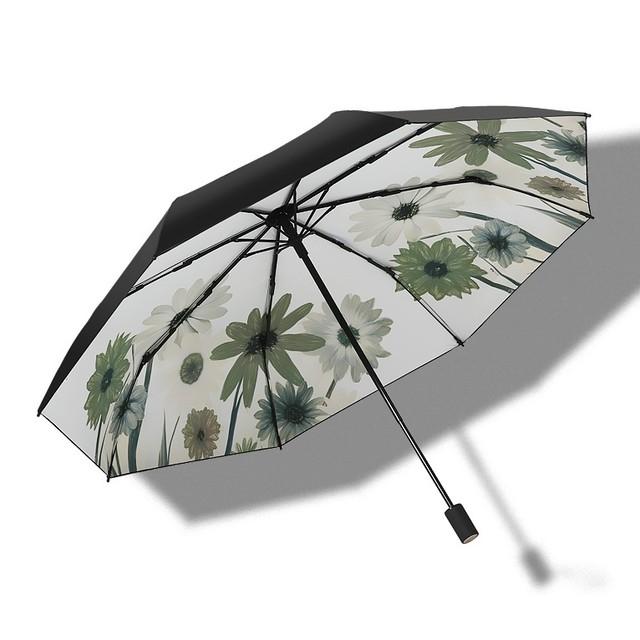 グリーンのお花の折りたたみ日傘   A-039