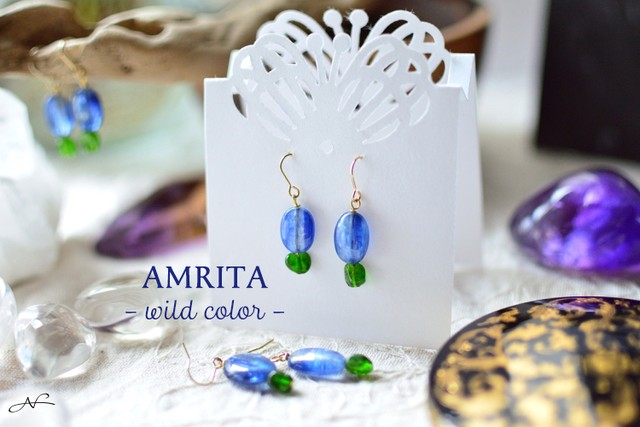 [wildcolor] 天然石のピアス 青 x 緑
