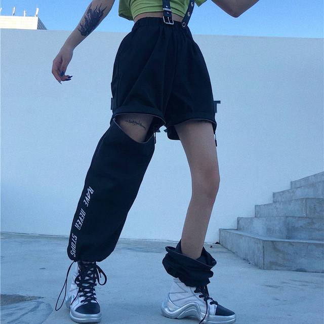 【ボトムス】原宿ストリート系人気&個性派「二種類の着方」カジュアルパンツ21139018