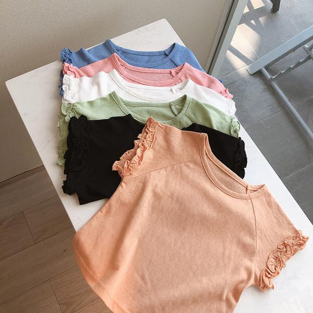50%off【在庫限り】袖フリルシンプルTシャツ