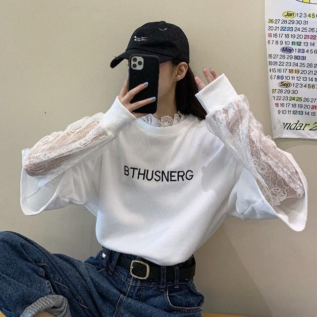【トップス】春新作長袖韓国系ラウンドネックアルファベットTシャツ25631970