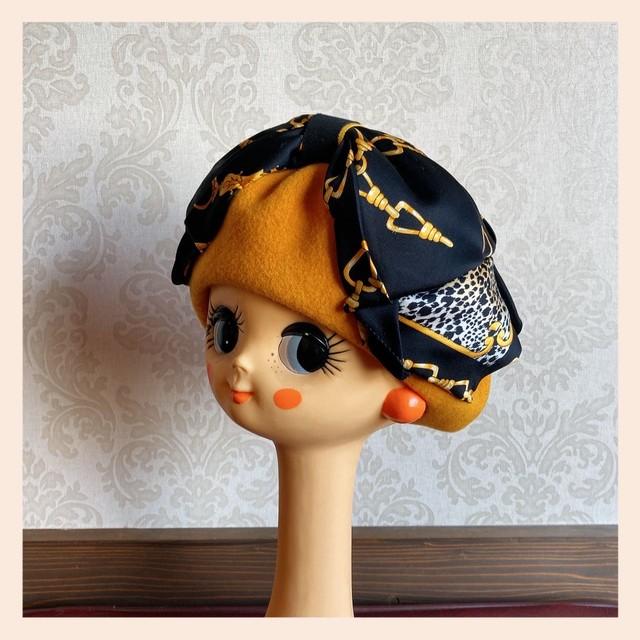 ブラック×やまぶき色 リボンベレー帽 モアオリジナル