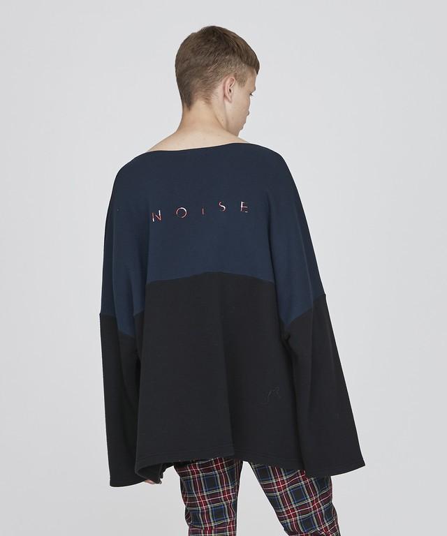 【即納】NOISE刺繍切替ニットボートネック(ブラック)