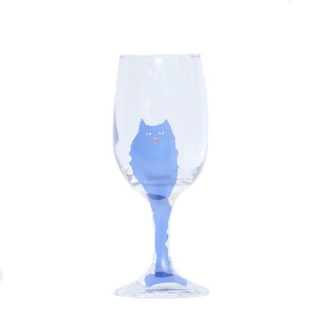 うそみたいなコップ (細かいところにはまる猫のワイングラス) 【1点モノ】