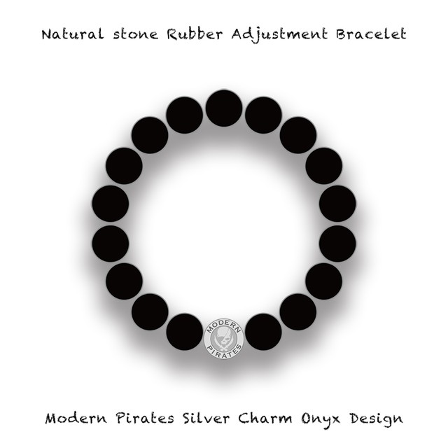 Natural Stone Rubber Adjustment Bracelet / Modern Pirates Silver Charm Onyx Design