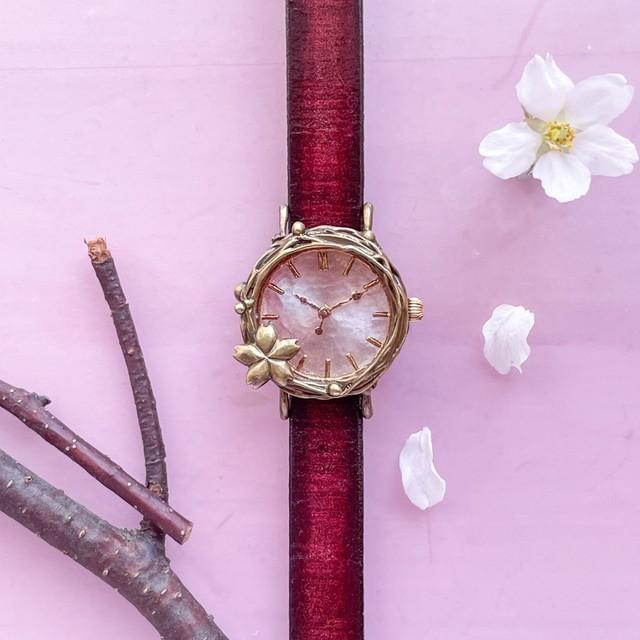 流るる桜腕時計Sマーブルピンク