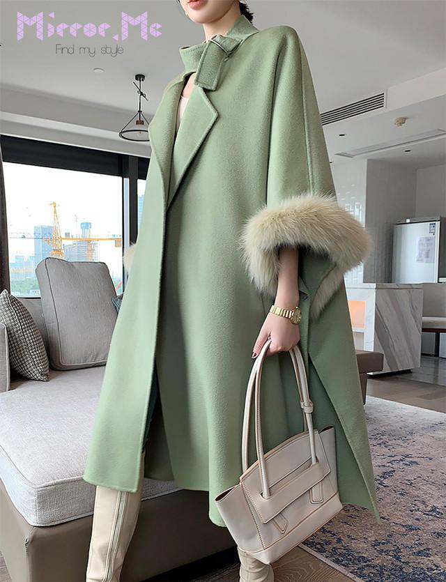 【最高品質カシミア30%ウール70%】ネックベルト袖ファーポンチョ風ロングコート 3色展開