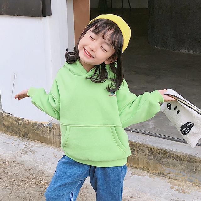 【トップス】柔らかい韓国長袖裹起毛キーズ女の子無地スウェット·パーカー24652372