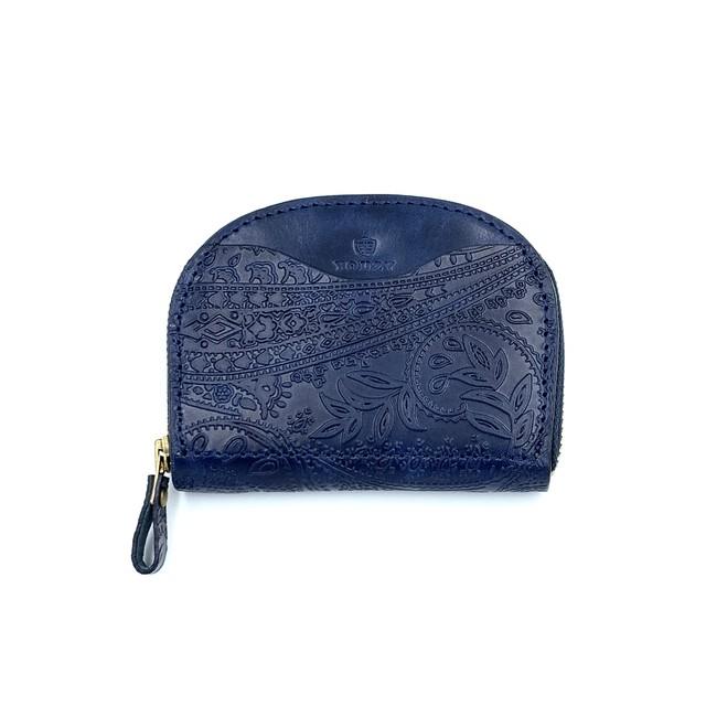 YONZY Mini Wallet レッドヘアー牛革 BLACK  OG BRASS ボタン付きYZMW  TYPE2