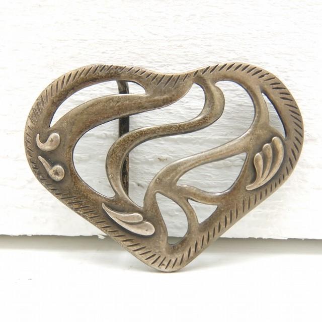 イタリア製 ビンテージ ベルト バックル ハート型 vintage buckle heart made in italy