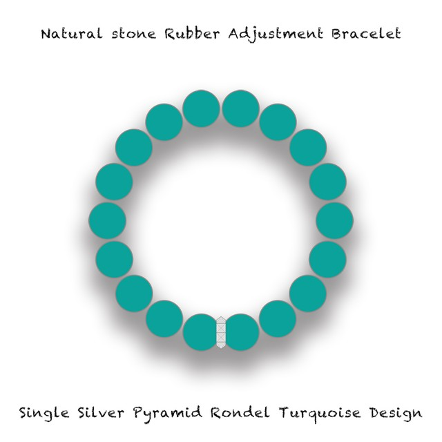 Natural Stone Rubber Adjustment Bracelet / Single Silver Pyramid Rondel Turquoise Design