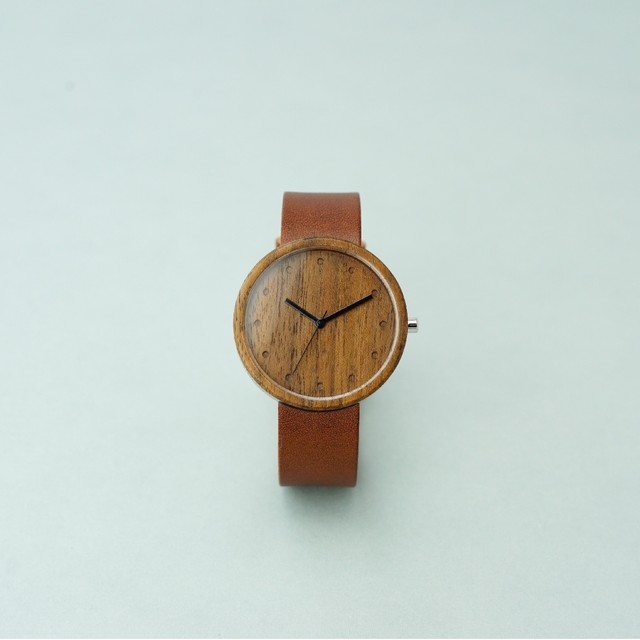 Walnut wood - Organic leather Dark Brown - L