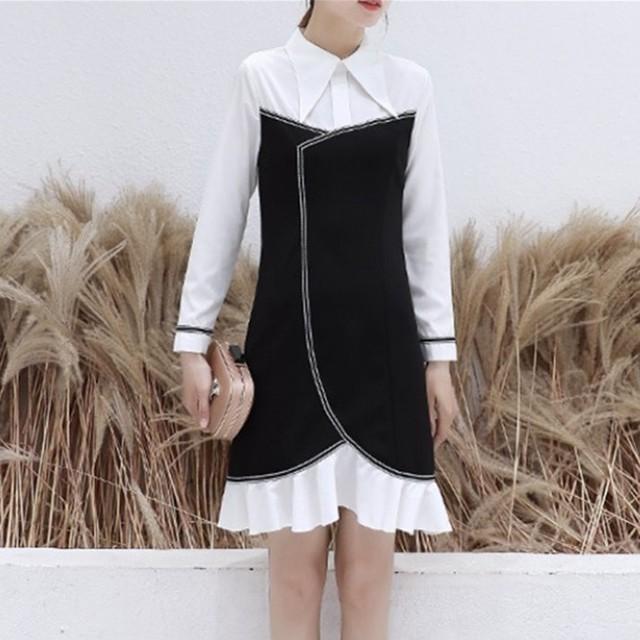 【dress】ファッションエレガント切り替え配色着合わせやすい折り襟OL通勤ワンピース